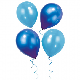 Set de 12 globos brillantes azul